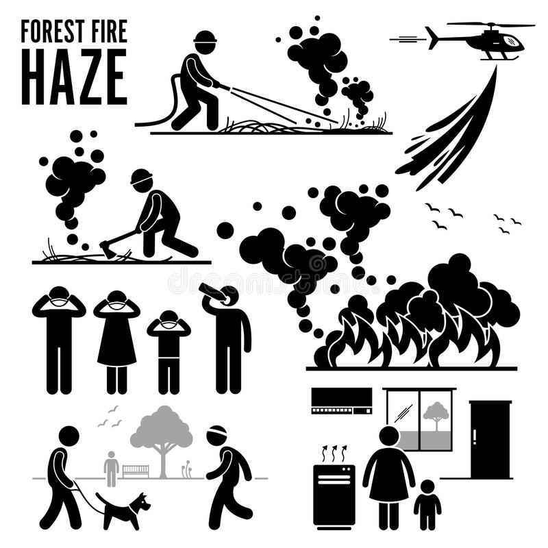Εικονόγραμμα Cliparts προβλημάτων δασικής πυρκαγιάς και ελαφριάς ομίχλης ελεύθερη απεικόνιση δικαιώματος