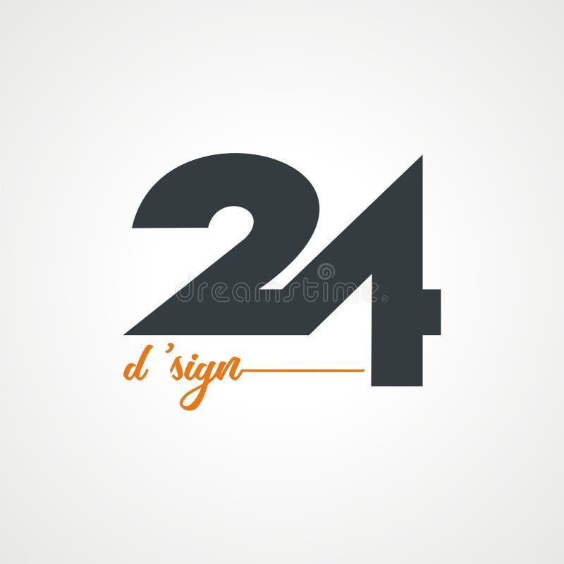 Εικοσιτέσσερα λογότυπο β 2 διανυσματική απεικόνιση