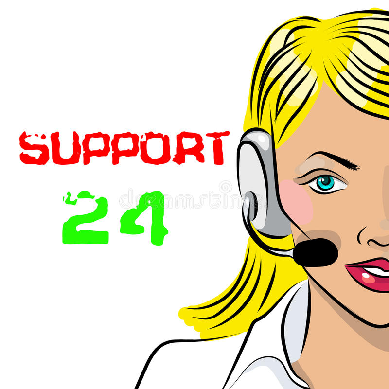Εικοσιτετράωρη τηλεφωνική υποστήριξη Αποστολέας γυναικών επίσης corel σύρετε το διάνυσμα απεικόνισης ελεύθερη απεικόνιση δικαιώματος