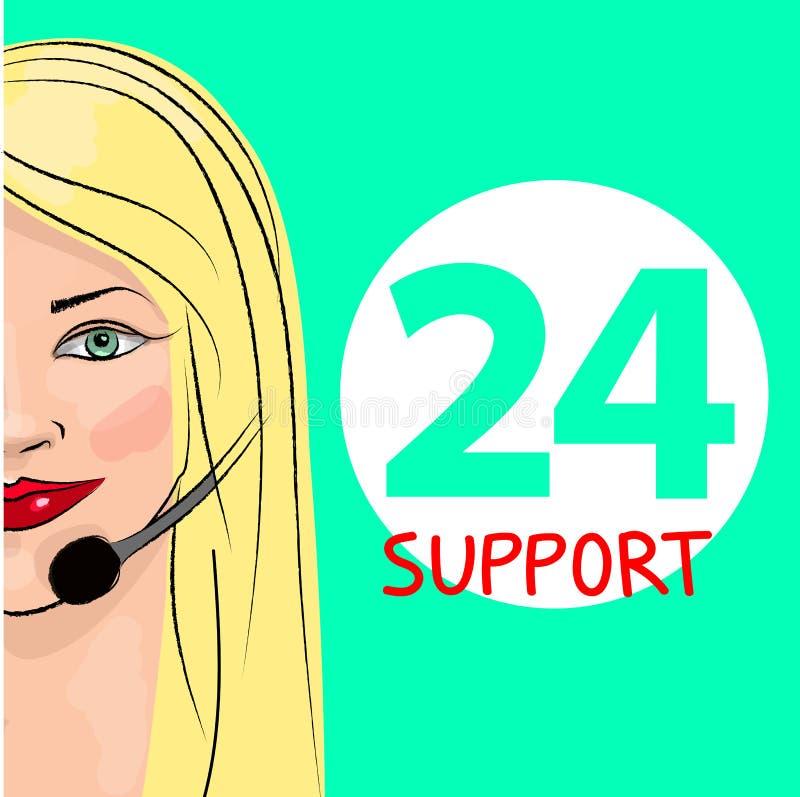 Εικοσιτετράωρη τηλεφωνική υποστήριξη Αποστολέας γυναικών επίσης corel σύρετε το διάνυσμα απεικόνισης διανυσματική απεικόνιση