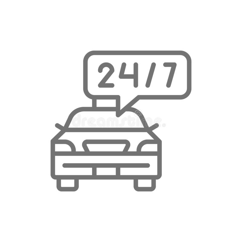 Εικοσιτετράωρη υπηρεσία ταξί, προθεσμία αυτοκινήτων, εικονίδιο γραμμών γύρου προγράμματος ελεύθερη απεικόνιση δικαιώματος