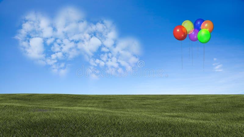 Εικόνα ένα σύννεφο καρδιών στο μπλε ουρανό στοκ φωτογραφία με δικαίωμα ελεύθερης χρήσης