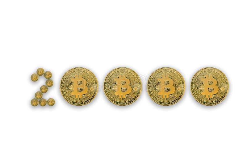 Εικόνα έννοιας με το φυσικό νόμισμα crypto bitcoin της ένδειξης νομίσματος της τιμής 20000 δολάρια για ένα bitcoin Απομονωμένη άσ στοκ φωτογραφία