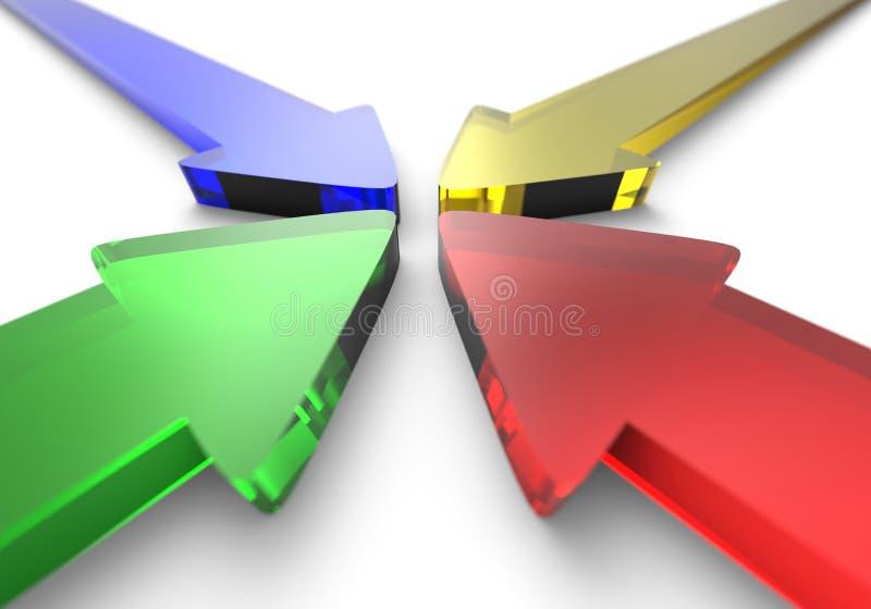 Τέσσερα ζωηρόχρωμα βέλη γυαλιού ελεύθερη απεικόνιση δικαιώματος