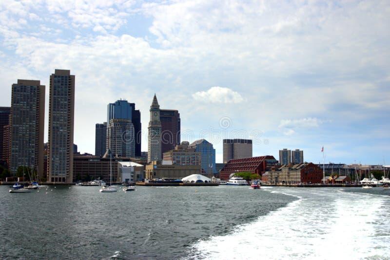 Εικόνα αποθεμάτων του ορίζοντα της Βοστώνης, εσωτερικό λιμάνι, ΗΠΑ στοκ εικόνες