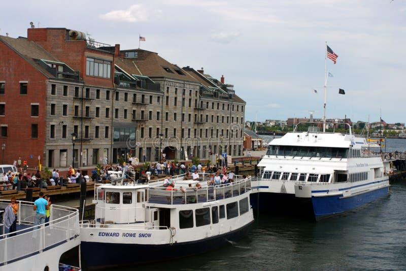 Εικόνα αποθεμάτων του ορίζοντα της Βοστώνης, εσωτερικό λιμάνι, ΗΠΑ στοκ φωτογραφίες