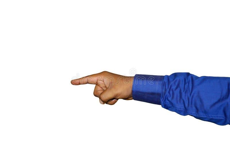 Εικόνα αποθεμάτων του χεριού που δείχνει ένα δάχτυλο που φορά ένα μπλε πουκάμισο στοκ φωτογραφία