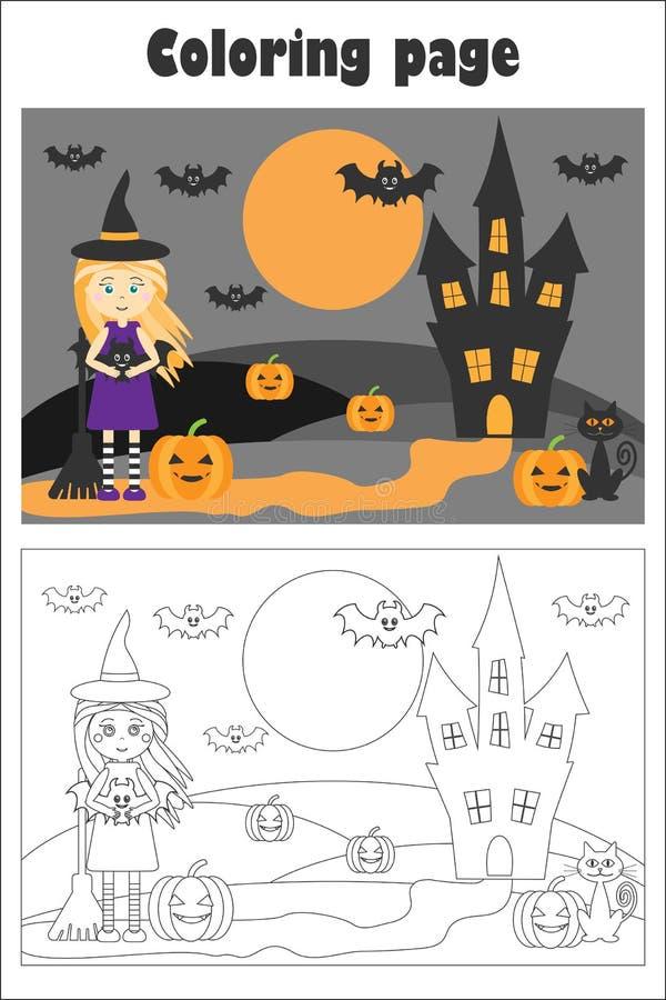 Εικόνα αποκριών με τη μάγισσα στο ύφος κινούμενων σχεδίων, χρωματίζοντας σελίδα, παιχνίδι εγγράφου εκπαίδευσης για την ανάπτυξη τ απεικόνιση αποθεμάτων