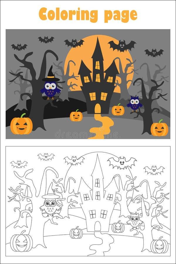 Εικόνα αποκριών στο ύφος κινούμενων σχεδίων, χρωματίζοντας σελίδα, παιχνίδι εγγράφου εκπαίδευσης για την ανάπτυξη των παιδιών, πρ διανυσματική απεικόνιση
