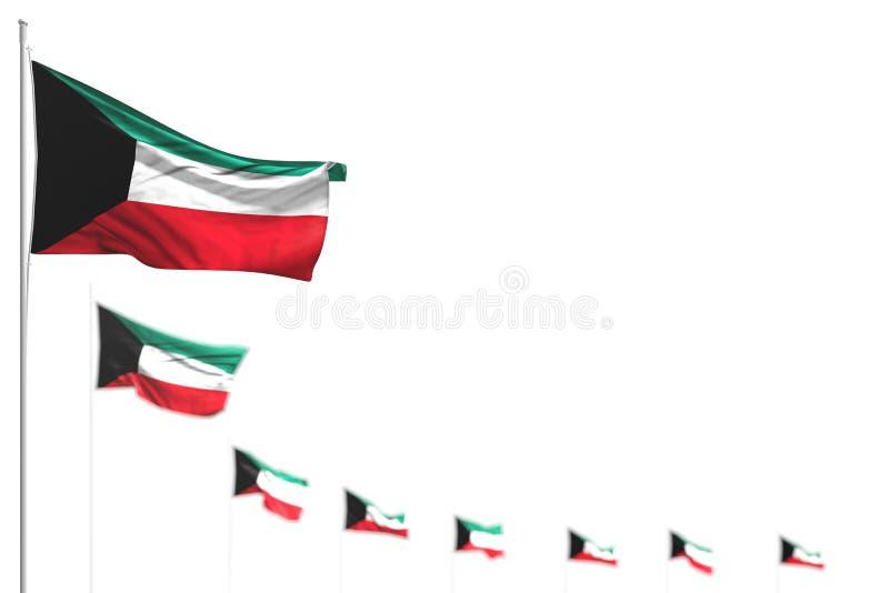 Εικόνα 3δ με σημαία εργάσιμης ημέρας - Κουβέιτ απομονωμένες σημαίες τοποθετημένες διαγώνια, εικόνα με επιλεκτική εστίαση και χώρο ελεύθερη απεικόνιση δικαιώματος