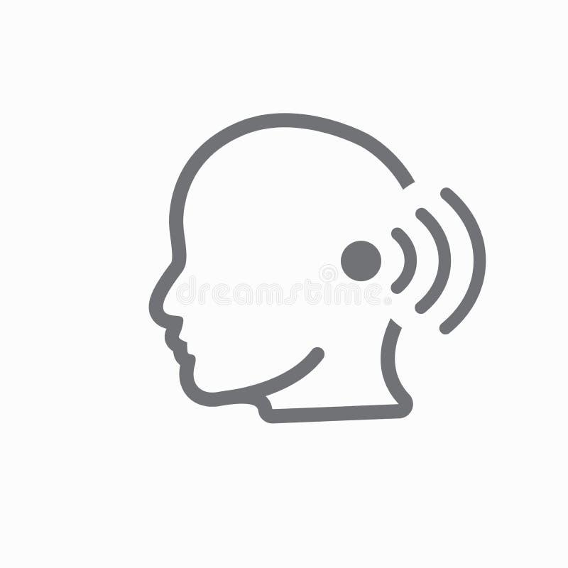Εικόνα εικονιδίων περιλήψεων αυτιών και καναλιών αυτιών για την ακρόαση/το άκουσμα Los διανυσματική απεικόνιση
