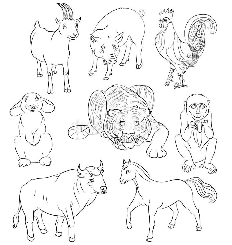 Εικόνα ενός ταύρου, κόκκορας, αίγα, χοίρος, άλογο, τίγρη διανυσματική απεικόνιση
