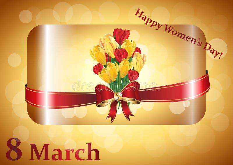 Εικόνα ευχετήριων καρτών ημέρας των ευτυχών γυναικών απεικόνιση αποθεμάτων