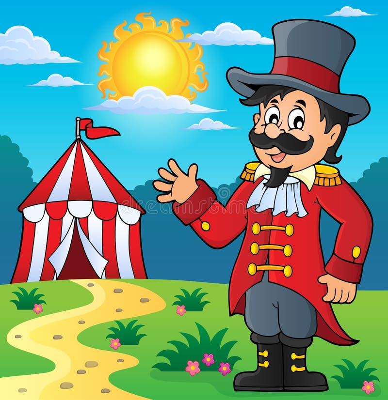 Εικόνα 3 θέματος παρουσηαστών προγράμματος τσίρκου τσίρκων διανυσματική απεικόνιση