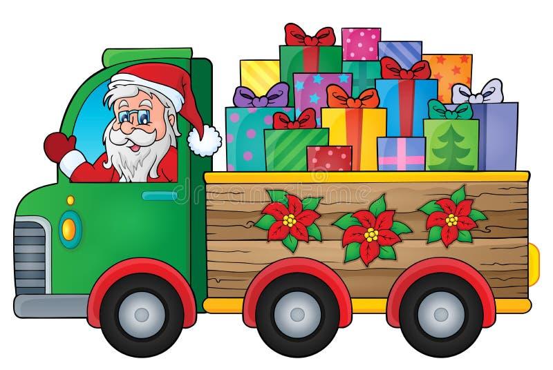 Εικόνα 1 θέματος φορτηγών Χριστουγέννων διανυσματική απεικόνιση