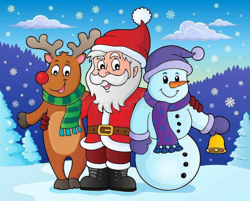 Εικόνα 4 θέματος χαρακτήρων Χριστουγέννων διανυσματική απεικόνιση