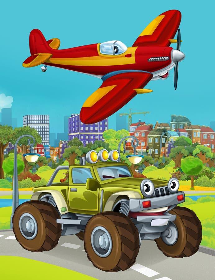Εικόνα κινουμένων σχεδίων με στρατιωτικό όχημα στο δρόμο και αεροπλάνο με τζετ να πετάει πάνω στοκ φωτογραφία