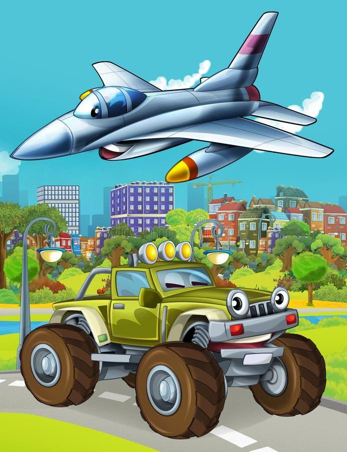 Εικόνα κινουμένων σχεδίων με στρατιωτικό όχημα στο δρόμο και αεροπλάνο με τζετ να πετάει πάνω στοκ φωτογραφίες με δικαίωμα ελεύθερης χρήσης