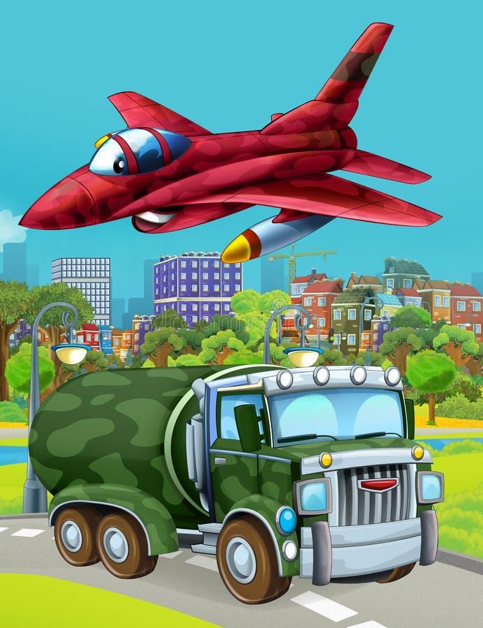 Εικόνα κινουμένων σχεδίων με στρατιωτικό όχημα στο δρόμο και αεροπλάνο με τζετ να πετάει πάνω στοκ εικόνες