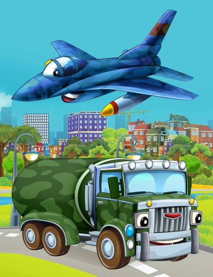 Εικόνα κινουμένων σχεδίων με στρατιωτικό όχημα στο δρόμο και αεροπλάνο με τζετ να πετάει πάνω στοκ φωτογραφία με δικαίωμα ελεύθερης χρήσης