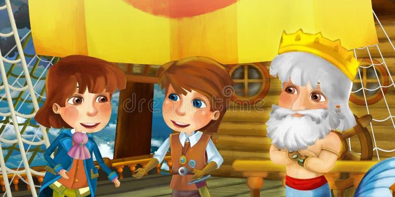 Εικόνα κινουμένων σχεδίων στο πλοίο με τον πρίγκιπα καπετάνιο στο κατάστρωμα και άλλους ανθρώπους στοκ φωτογραφία