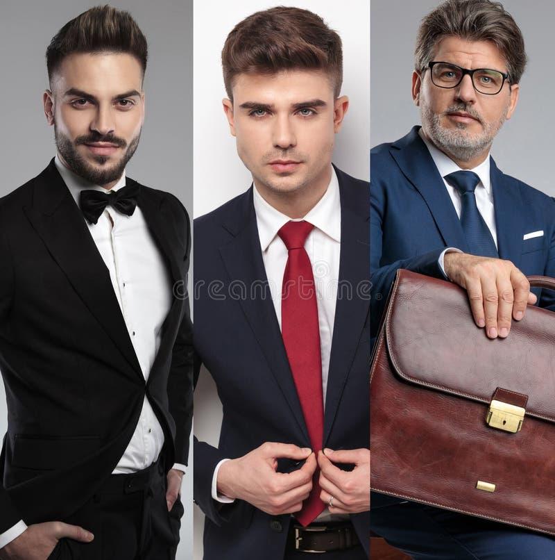 Εικόνα κολάζ τριών διαφορετικών όμορφων ατόμων που φορούν τα κοστούμια στοκ φωτογραφία με δικαίωμα ελεύθερης χρήσης