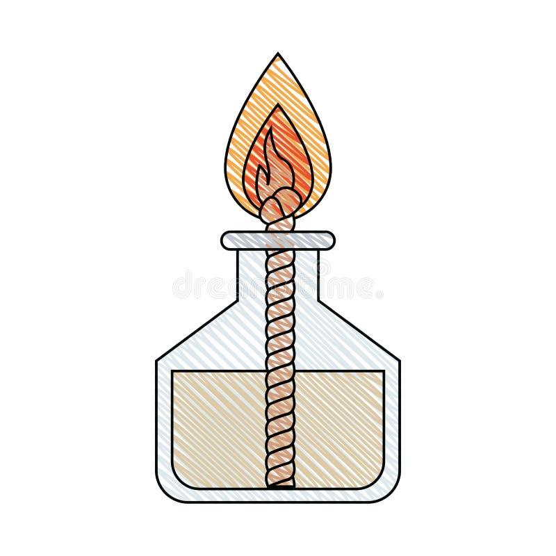 Εικόνα λωρίδων κραγιονιών χρώματος του εργαστηριακού αναπτήρα με το σχοινί και τη φλόγα ελεύθερη απεικόνιση δικαιώματος