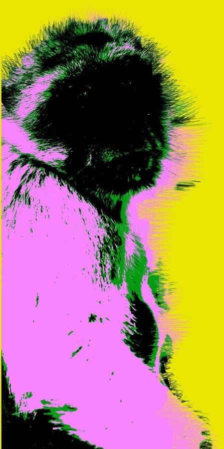 Εικόνα με τον πίθηκο πέρα από το κίτρινο υπόβαθρο διανυσματική απεικόνιση