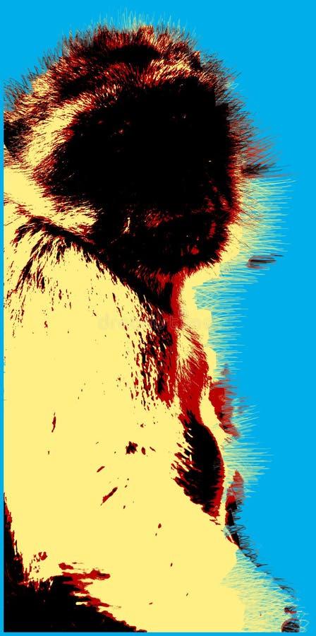 Εικόνα με τον πίθηκο πέρα από το μπλε υπόβαθρο διανυσματική απεικόνιση