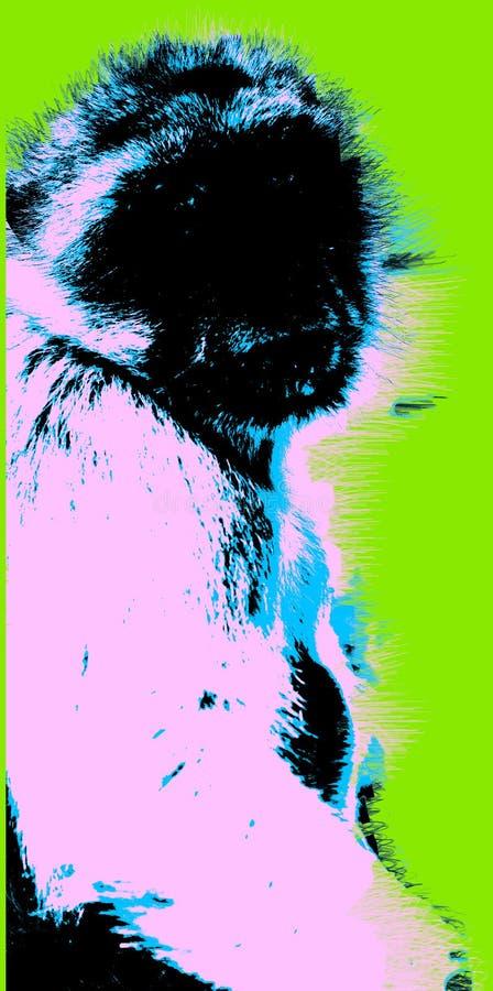 Εικόνα με τον πίθηκο πέρα από το πράσινο υπόβαθρο διανυσματική απεικόνιση