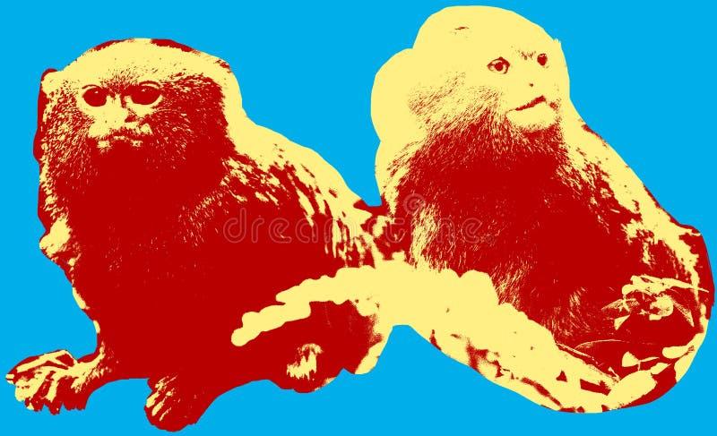 Εικόνα με τους pygmy πιθήκους διανυσματική απεικόνιση