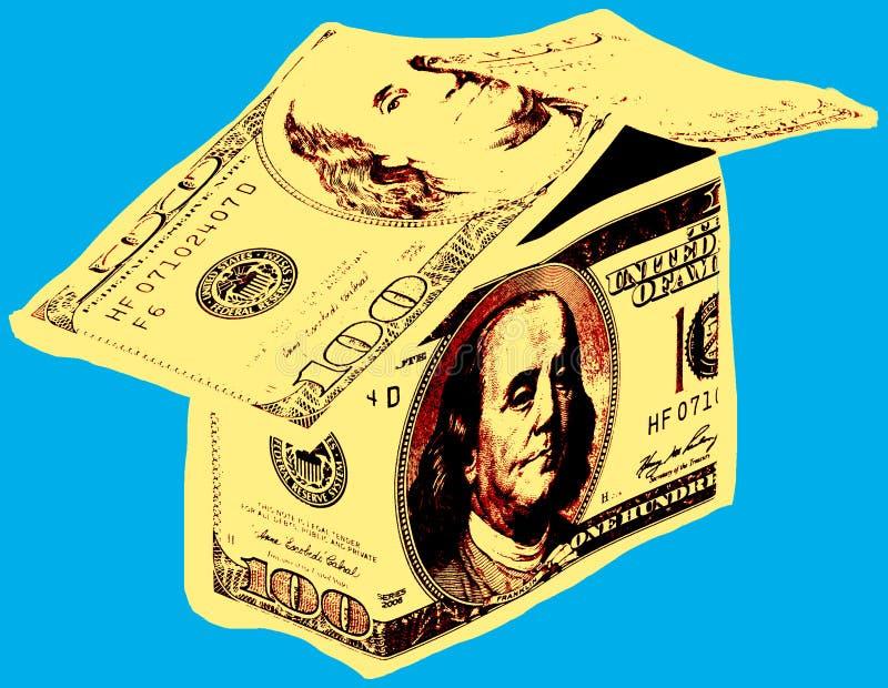 Εικόνα με το σπίτι δολαρίων διανυσματική απεικόνιση