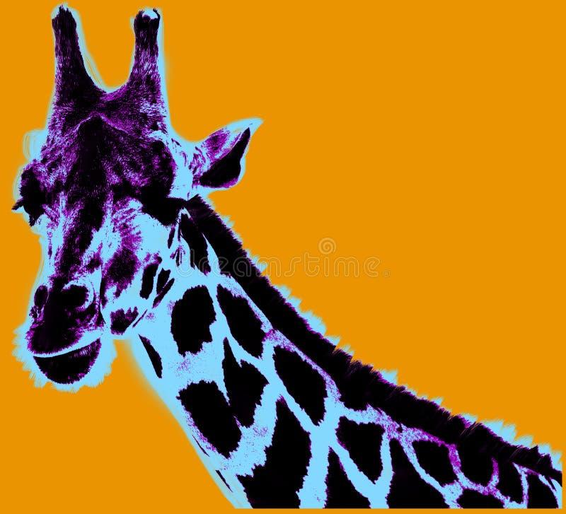 Εικόνα με giraffe πέρα από το πορτοκαλί υπόβαθρο διανυσματική απεικόνιση