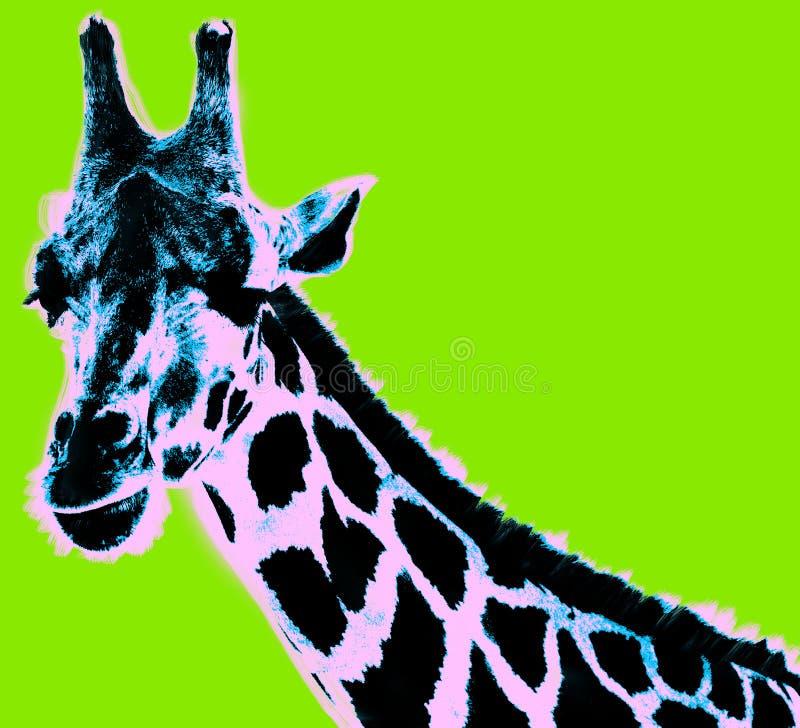 Εικόνα με giraffe πέρα από το πράσινο υπόβαθρο διανυσματική απεικόνιση