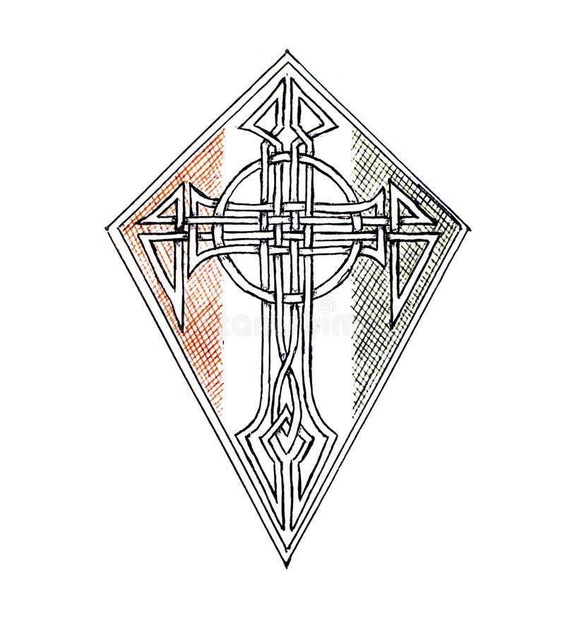 Εικόνα μιας ασπίδας που απεικονίζει το χριστιανικό σταυρό περίκομψο πρότυπο απεικόνιση αποθεμάτων