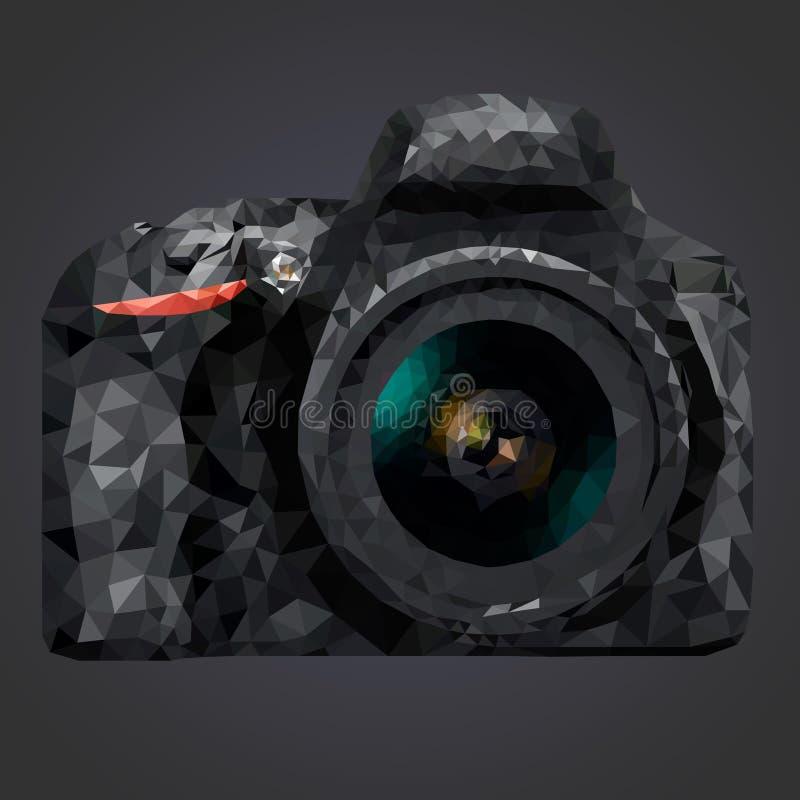 Εικόνα μιας κάμερας με έναν φακό σε ένα πολυ ύφος σε ένα γκρίζο υπόβαθρο απεικόνιση αποθεμάτων