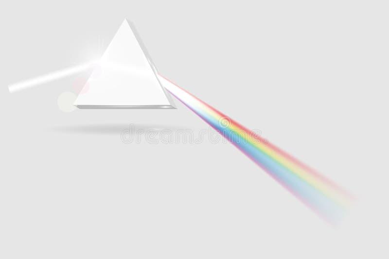 Εικόνα πρισμάτων φάσματος Διαφανές οπτικό στοιχείο, τριγωνικό διανυσματική απεικόνιση