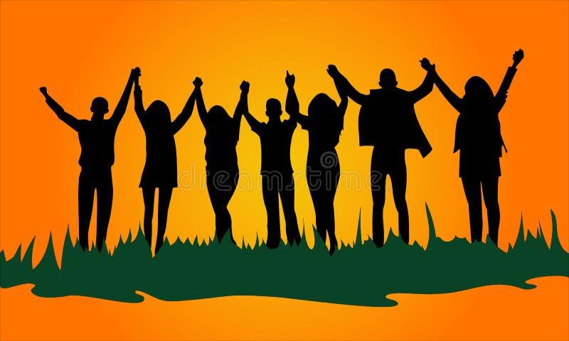 Εικόνα σκιαγραφιών της ομάδας νέων που κρατούν τα χέρια επάνω, φιλική εύθυμη επιχείρηση ελεύθερη απεικόνιση δικαιώματος