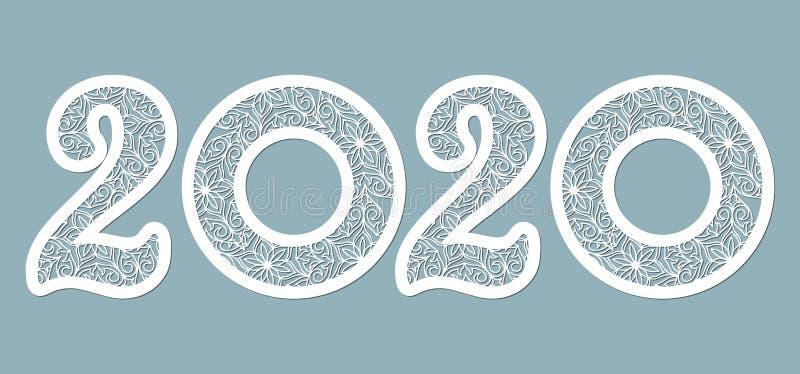 Εικόνα 2020 Συντόμευση Ορισμός προτύπου για αποκοπή λέιζερ και σχεδιαστή Απεικόνιση διανύσματος Μοτίβο για το κόψιμο λέιζερ, την  διανυσματική απεικόνιση
