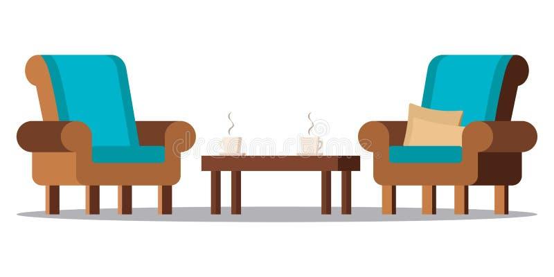 Εικόνα τέχνης συνδετήρων: άνετα έπιπλα καθιστικών διανυσματική απεικόνιση