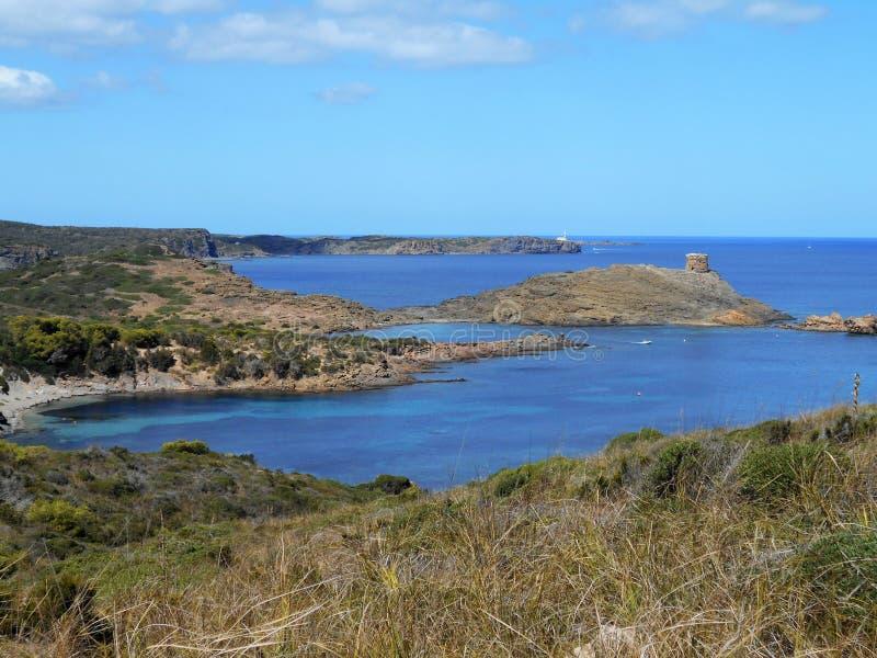 Εικόνα της ακτής του νησιού Baeutiful Menorca στην Ισπανία Ένας φυσικός παράδεισος στοκ εικόνα