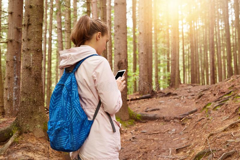 Εικόνα της γυναίκας backpacker που προσπαθεί να βρεί τον τρόπο της, που χρησιμοποιεί το κινητό τηλέφωνο στο δάσος, θηλυκό που πηγ στοκ φωτογραφίες