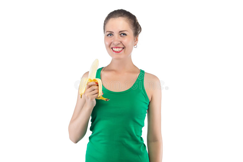 Εικόνα της ευτυχούς χαμογελώντας γυναίκας με την μπανάνα στοκ εικόνες με δικαίωμα ελεύθερης χρήσης