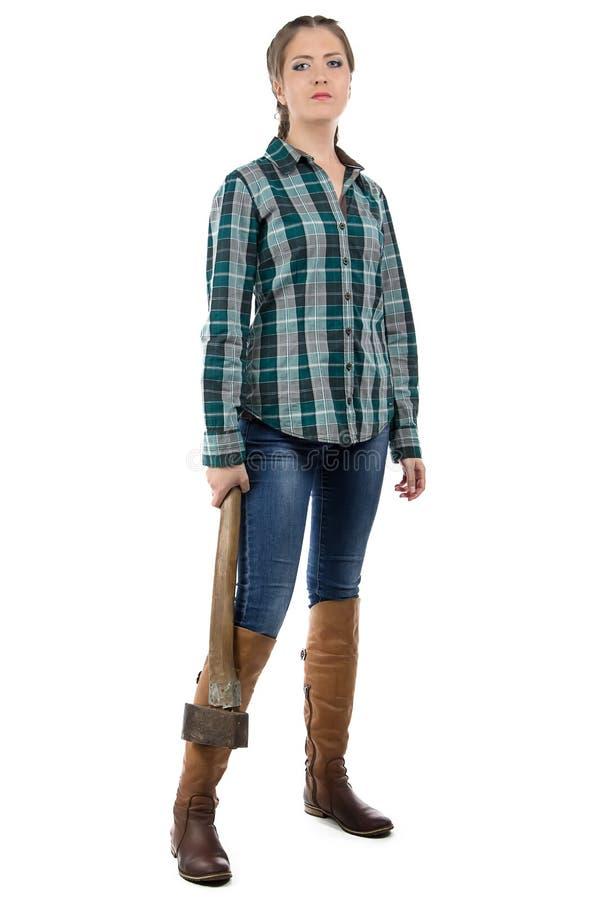 Εικόνα της σοβαρής γυναίκας με το τσεκούρι στοκ φωτογραφίες