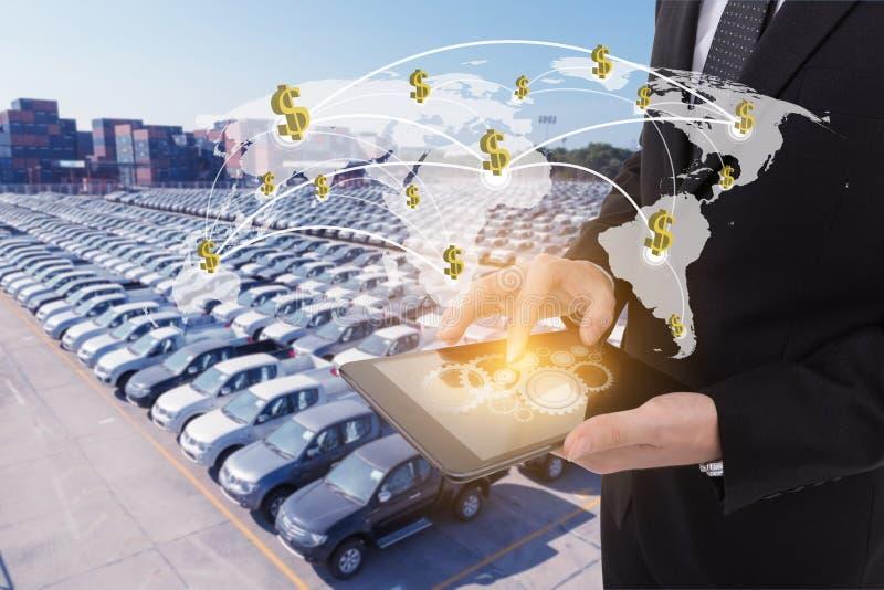 Εικόνα της ταμπλέτας εκμετάλλευσης επιχειρηματιών, έννοια χρηματοδότησης στοκ εικόνα με δικαίωμα ελεύθερης χρήσης