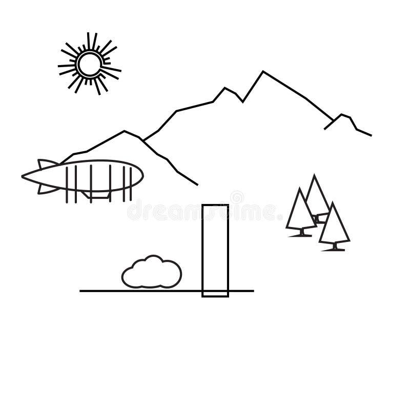 Εικόνα του αερόστατου περιλήψεων, δέντρα, βουνό ελεύθερη απεικόνιση δικαιώματος