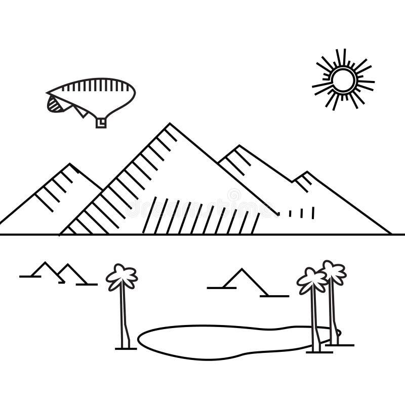Εικόνα του αερόστατου περιλήψεων, δέντρα, βουνό διανυσματική απεικόνιση