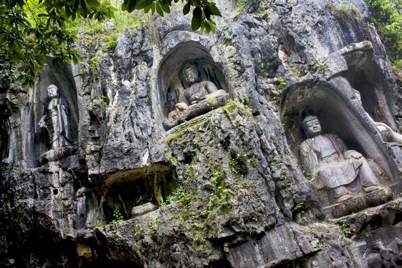 Εικόνα του Βούδα, ναός Lingyin, Westlake, Hangzhou, Κίνα στοκ εικόνα με δικαίωμα ελεύθερης χρήσης