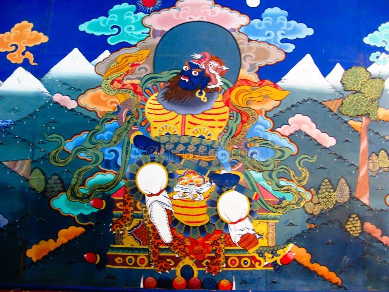Εικόνα του γκουρού Rinpoche aka Padmasambhava στον τοίχο του μοναστηριού Taktsang Lakhang, Paro, Μπουτάν στοκ εικόνες