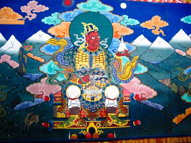 Εικόνα του γκουρού Rinpoche aka Padmasambhava στον τοίχο του μοναστηριού Taktsang Lhakhang, Paro, Μπουτάν στοκ φωτογραφία με δικαίωμα ελεύθερης χρήσης